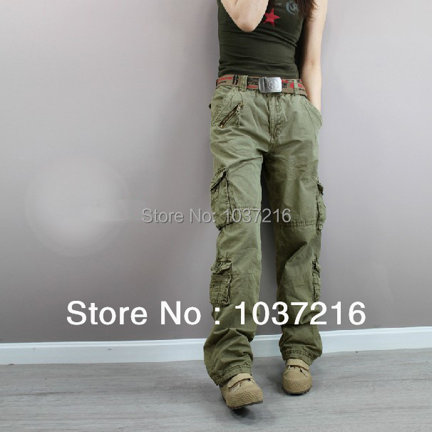 bcce38fe67dc0 Free shipping New Fashion plus size Green Denim camouflage cargo pants  women army fatigue pants loose jeans baggy sport pants