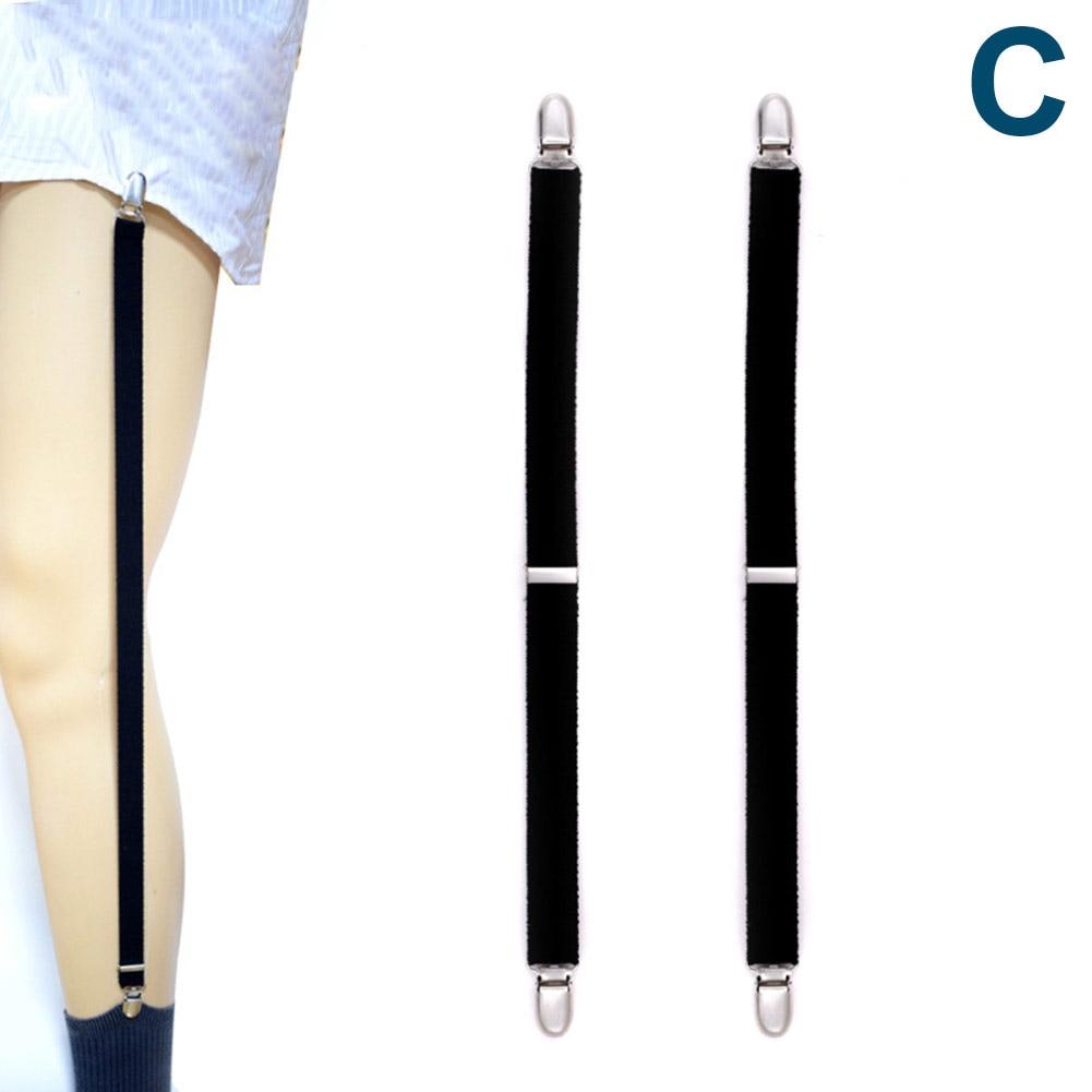 Droppshi Fashion Men Shirt Stays Garter Suspenders Holder Elastic Y Shape Adjustable Uniform Locking Clamp Braces Shirts Garters Dg88