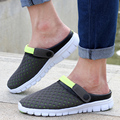2017 spring&Summer Loafers Men Flat, Round toe casual Sandals Men Shoes Breathable Net mesh Man Beach Shoes Male sandalias