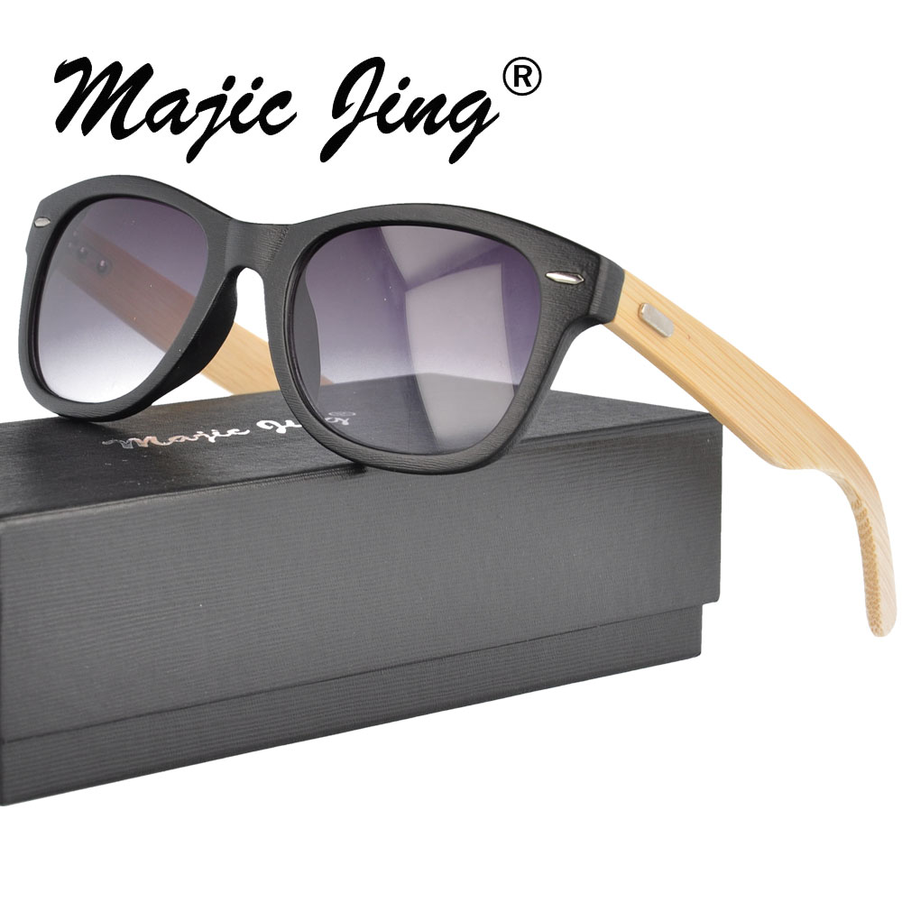 Magic Jing   bamboo full rim sunglasses with nature bamboo case   sunshade   UV400  for men J0193