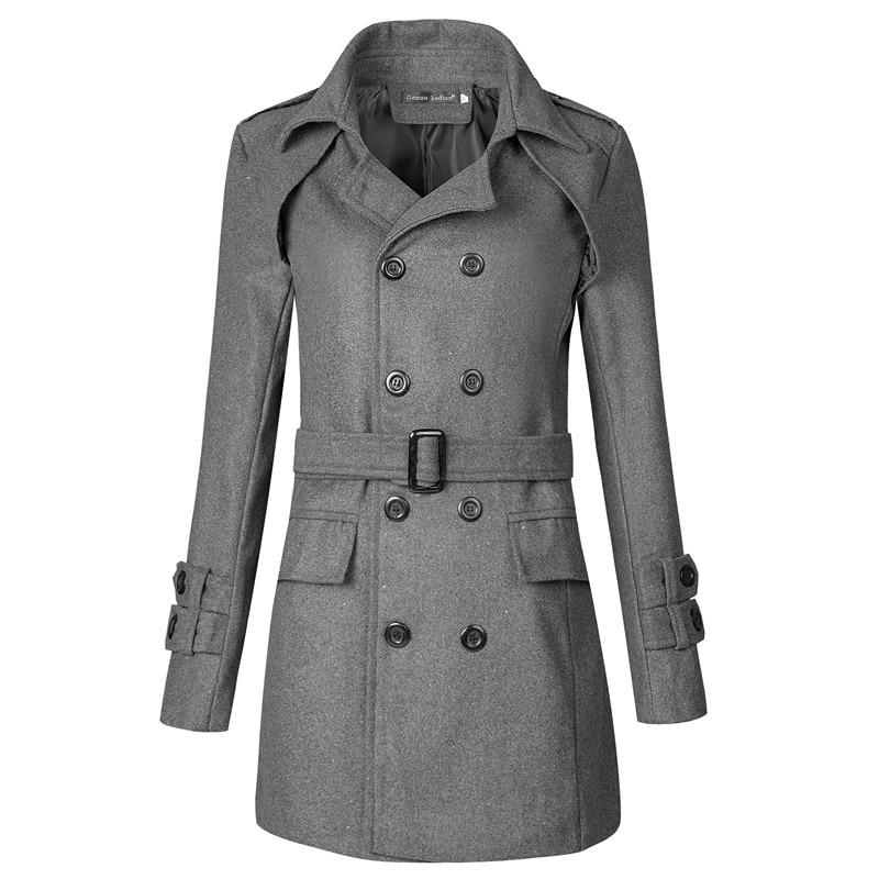 Generic Mens Winter Horn Buckle Trench Coat Long Overcoat Fleece Lining Overcoat