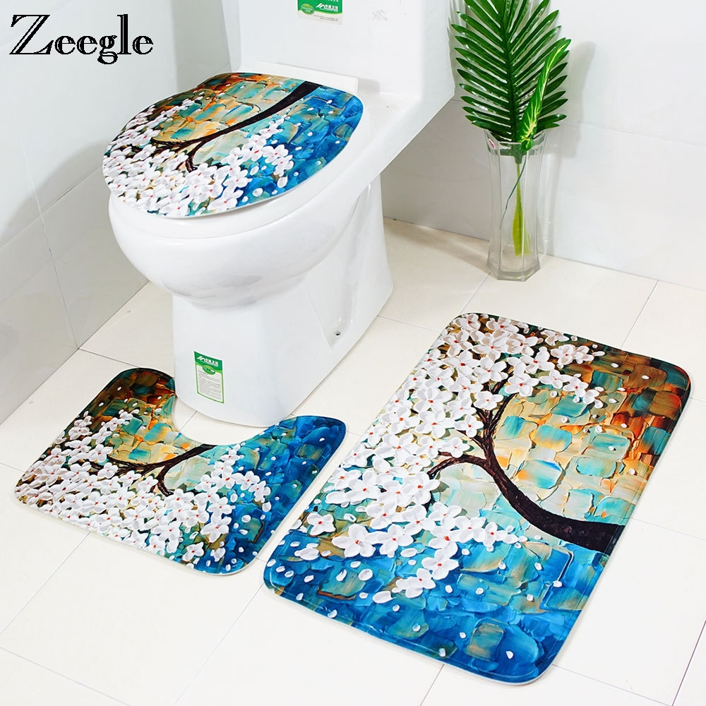 Sensational Us 12 01 49 Off Zeegle Absorbent Bathroom Mat Tree Painting Bathroom Carpet Toilet Seat Cover Anti Slip Bath Rugs Toilet Mat 3Pcs Bath Mat Set In Gmtry Best Dining Table And Chair Ideas Images Gmtryco