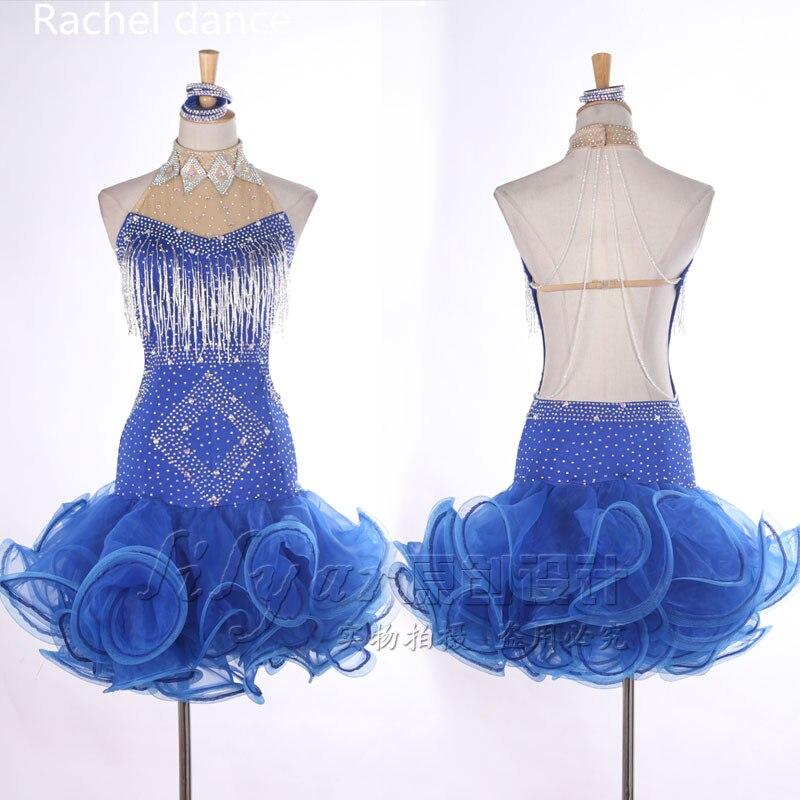 Profession Latin Dance Dress Women Harness Style Back Open Polyester Salsa Samba Tango Ballroom Competition Costume Latin Dress