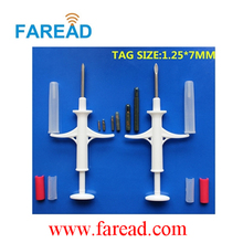 Free Shipping  x1pc  Livestock Scanner + x60pcs 134.2Khz Glass tag 1.25*7mm Microchip syringe