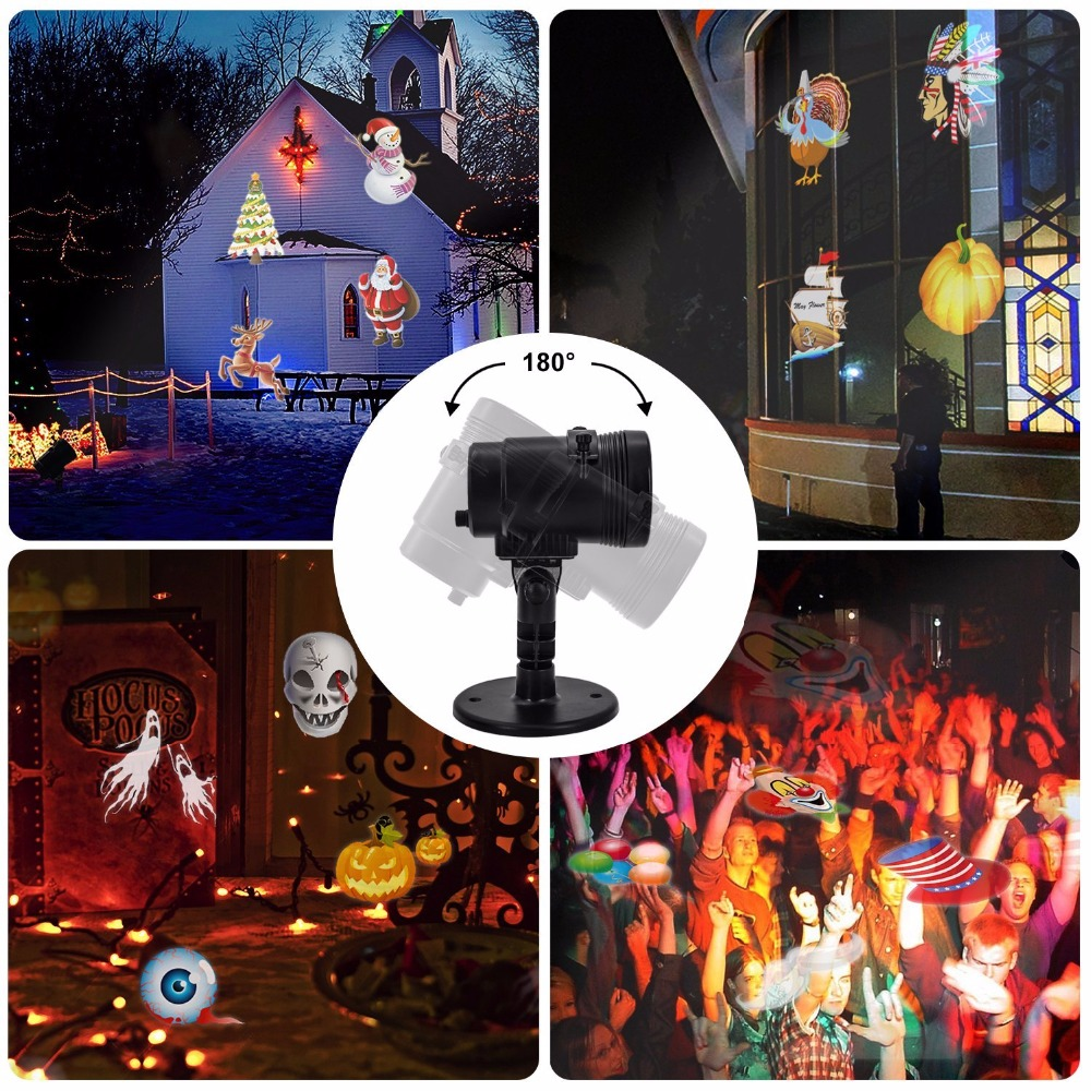 14 SWITCHABLE SLIDES Christmas Outdoor Projector Led Lights Eye protection Led Christmas Lawn Lights