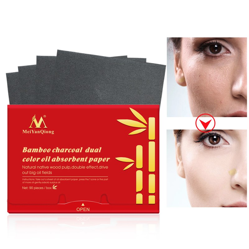 90 Pcs/Pack Natural Bamboo Charcoal Oil-Absorbing Paper Whitening Face Cleaner Facial Oil Control Moisturizing Facial Skin Care