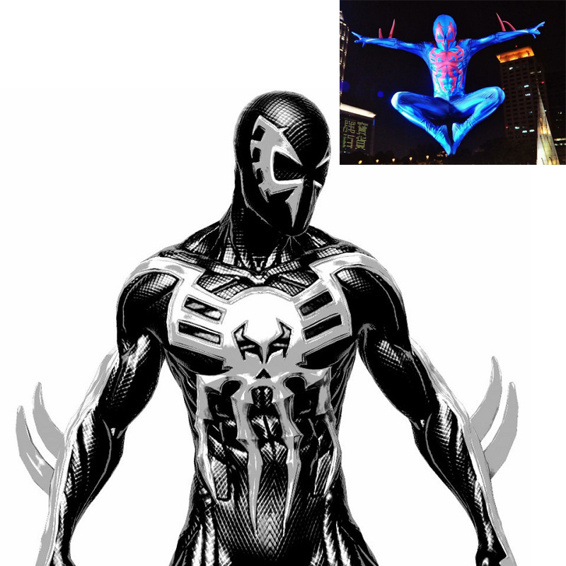 Spider-Man <font><b>2099</b></font> Miguel O'Hara cosplay Super hero <font><b>Spiderman</b></font> <font><b>Costumes</b></font> Fullbody Zentai Suit Adult man Jumpsuit Long Sleeve Rompers image