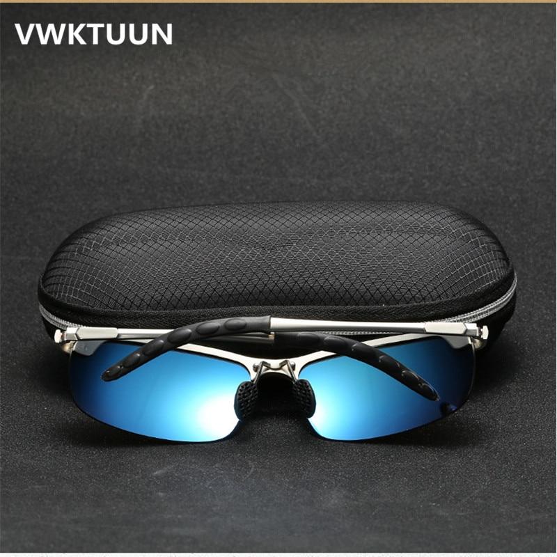 VWKTUUN s pouzdrem Polarizované sluneční brýle Pánské Modré potahovací zrcátko Sluneční brýle Mužské sportovní brýle Polarizované řízení Sport Oculos
