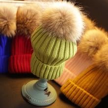 Women Winter Knitt Caps Real Mink Fur Pom Poms Wool Hat ball Solid Beanies Thick Hat Knit Female Bonnet Acrylic touca QN005