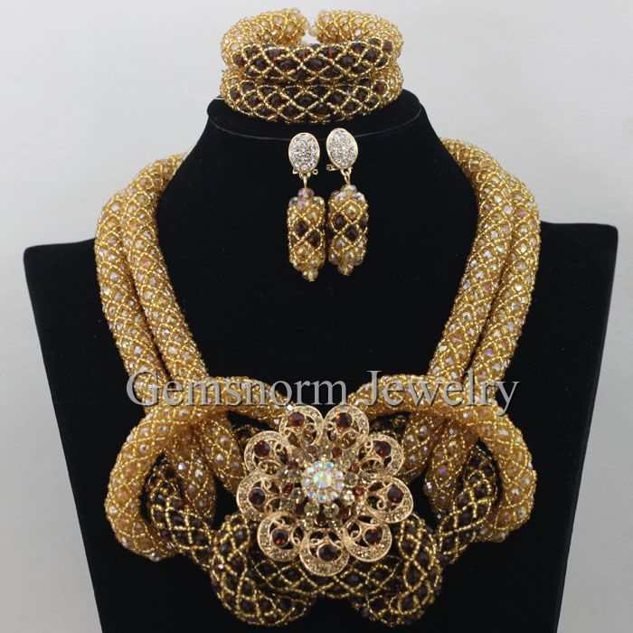 ᗔluxury Gold Brown Nigerian Wedding African Beads Jewelry Set