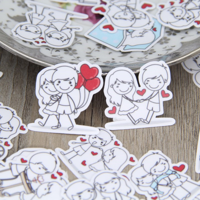 40 pcs Couple character expressi for phone car Label Decorative Stationery Stickers Scrapbooking DIY Diary Album toy Sticker