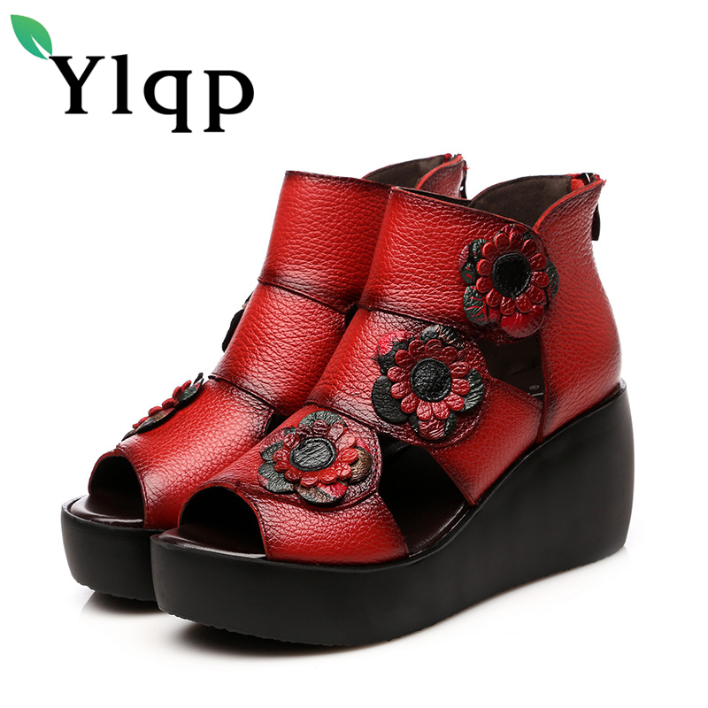 Ylqp Genuine Leather Sandals Women Fish Mouth Rome High Heels Zipper Sandals Vintage Floral Spring Summer Shoes Zapatos Mujer цены онлайн