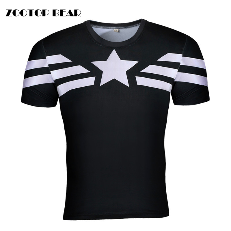 Captain America/Black Panther/Iron Man/Punisher 3D Cosplay T shirts Compression Men Tops Crossfit T-shirts Male Tees ZOOTOP BEAR