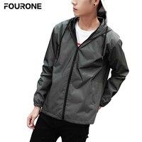 Men Reflective Zipper Jacket Hip Hop Windbreaker Hooded Fluorescent Coat Streetwear