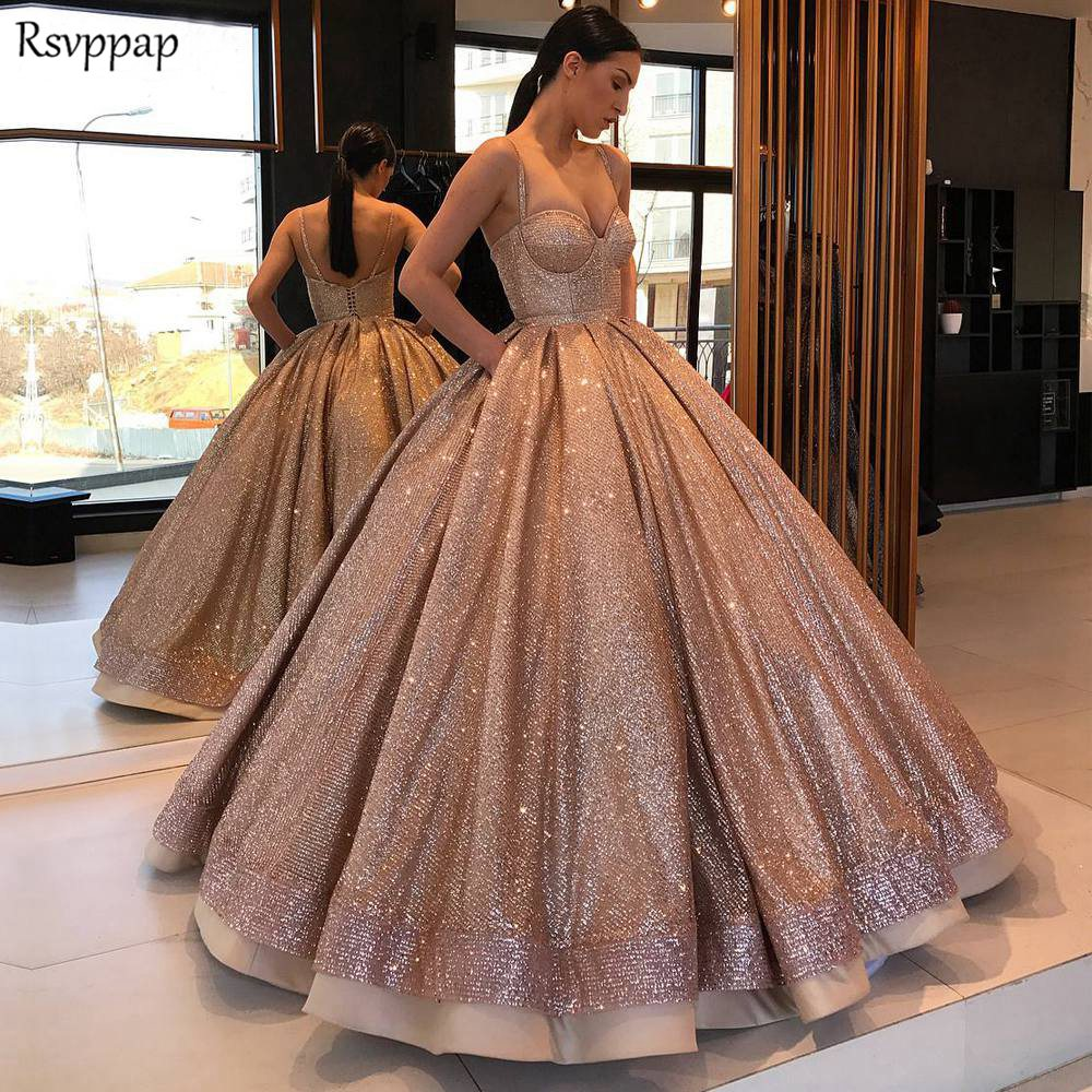 Long Sparkly Glitter Arabic Women Evening Dress 2020 Puffy Ball Gown Spaghetti Strap Rose Gold Abendkleider Formal Evening Gowns