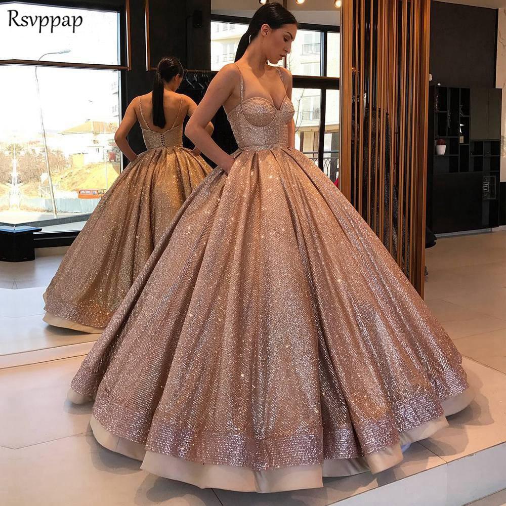 Long Sparkly Glitter Arabic Women Evening Dress 2020 Puffy Ball Gown Spaghetti Strap Rose Gold Abendkleider Formal Evening Gowns