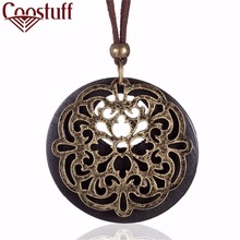 Vintage relogio necklaces & pendants summer style Women Jewelry Wood Pendant Cotton Rope Beautiful Necklace