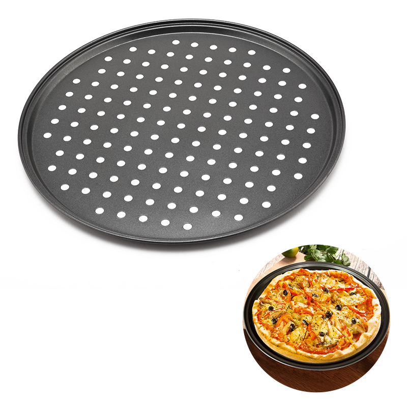 12inch Carbon Steel Fluted Pizza Pans With Holes Non Stick