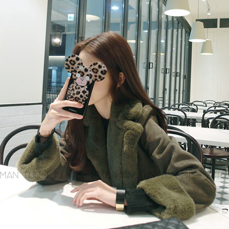 2017 Fashion Women Winter Warm Woolen Coat Cheap Chinese Suede Quilted Jacket Fur Collar Palto Elegant Korean Army Green Cloak