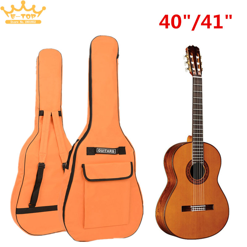40/41 Inch Double Straps Portable Oxford Fabric Guitar  Padded Guitar Soft Case Gig Bag Waterproof Backpack 40 41inch acoustic classical guitar bag case backpack adjustable shoulder strap portable 4mm thicken padded black