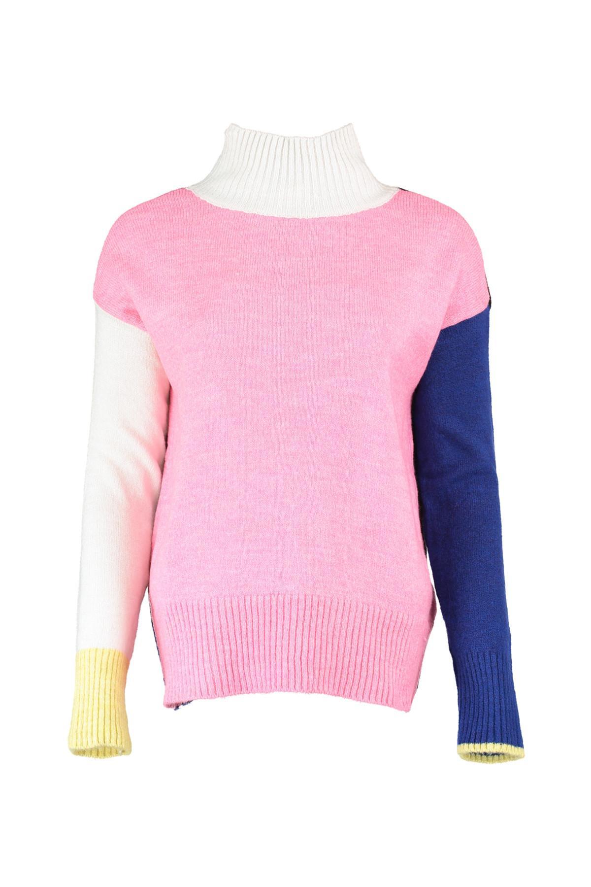 Trendyol WOMEN-Pink Colorblock Sweater Sweater TWOAW20IS0001
