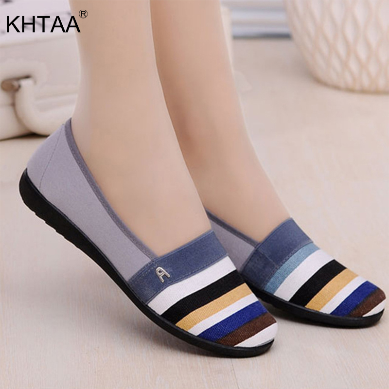 KHTAA Women Flats Casual Loafers Female Spring Ladies Footwear Candy Color Stripe Shoes Slip On Comfortable Soft Flat Shoes(China)