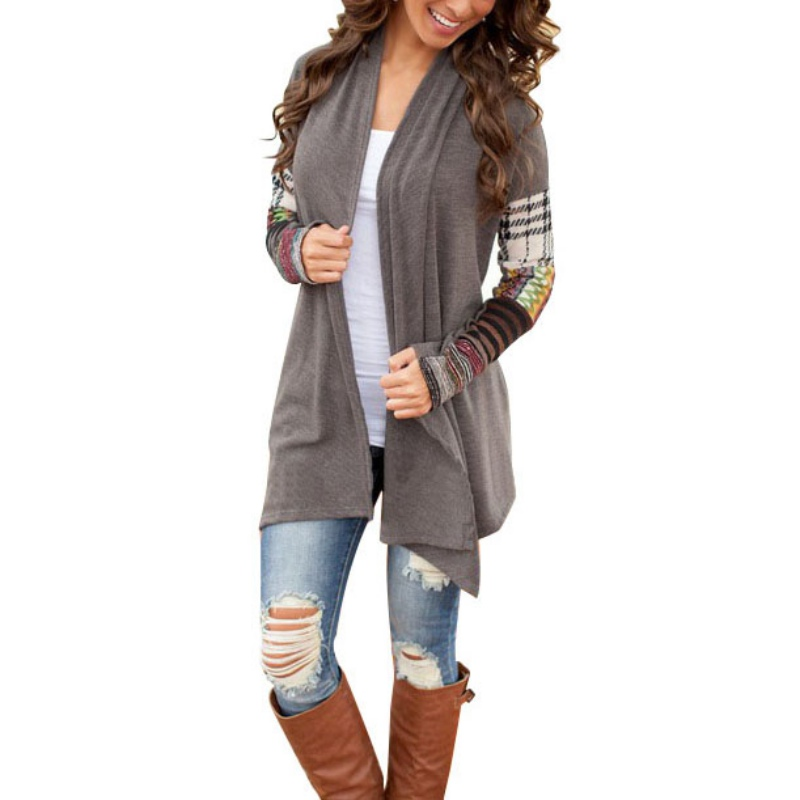 Spring And Autumn Women Gray Long Sleeve Printed Knitwear Casual Outwear Jacket Coat Sweater Cardigan 2017 New Arrivals