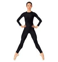 Speerise Adult Long Sleeve Black Unitards Women Crew Neck Gymnastics Spandex Dance Unitard Bodysuit Full Body Skin Tight Costum