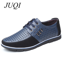 JUQI Men Leather Casual Shoes Summer Breathable Soft Driving Mens Handmade Flats Hollow Out Footwear Big Size 38-48