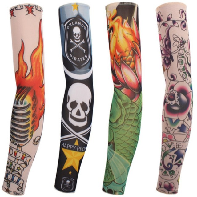 Long Sleeve Tattoo Sleeve For Black Men: 6Pcs/lot Stretchy Fake Tattoo Sleeves Arm Stockings Women