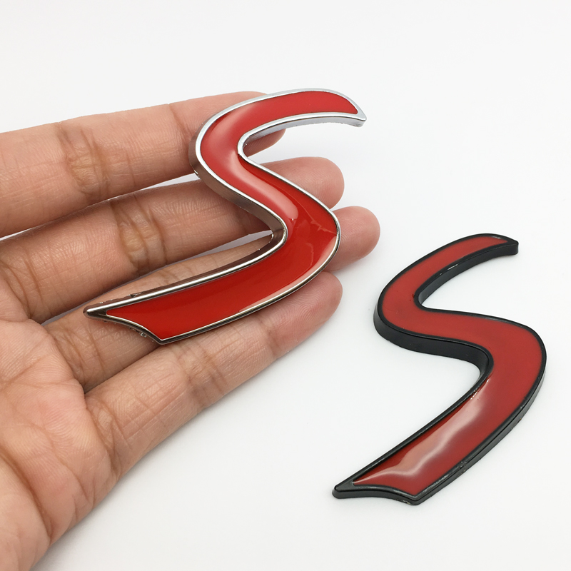 ANTINIYA 3D Chrome Metal Red Letter S Car Emblem Stickers for <font><b>Infiniti</b></font> Q50 Q50L G37 G25 <font><b>QX70</b></font> <font><b>FX35</b></font> <font><b>FX37</b></font> Car Styling image