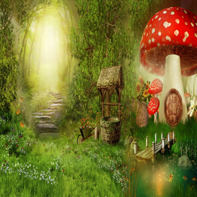 Us 9 49 42 Off Custom Mural Cartoon Forest Mushroom Children Room Mural Background Wall Mural Stereo Wallpaper Living Room Mural In Wallpapers From