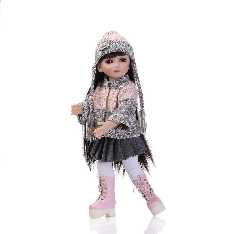 18 дюймов, с круглым вырезом, для девочек, ручная работа, BJD кукла для девочек Игрушки Подарки, 45 см прекрасная принцесса кукла Новорожденные Brinquedos игрушки для детей
