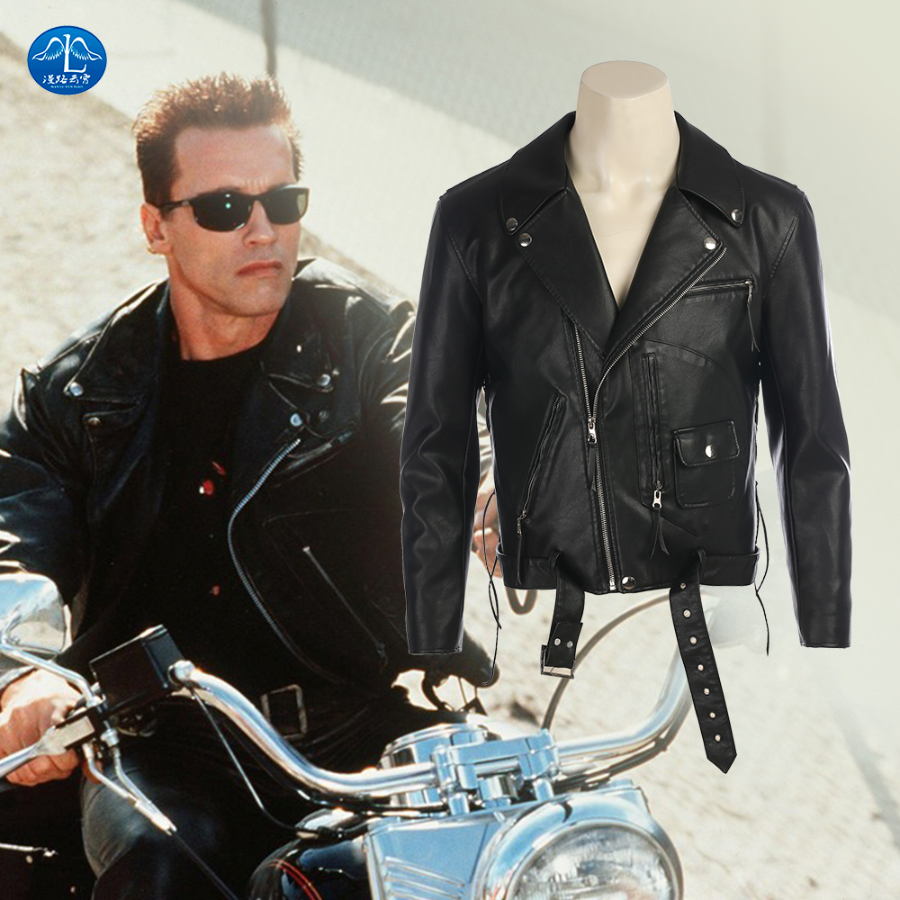 New Movie Terminator T-800 Cosplay Costume Black Leather Jacket Performance Costume Men Halloween Costumes  sc 1 st  AliExpress.com & The Terminator jacket Halloween costumes cosplay Terminator Black ...
