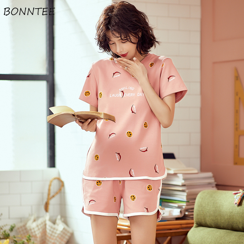 Pajama     Sets   Women Short Sleeve All-match Kawaii Home Simple Korean Style Womens Daily Trendy Casual Summer New Lovely Students