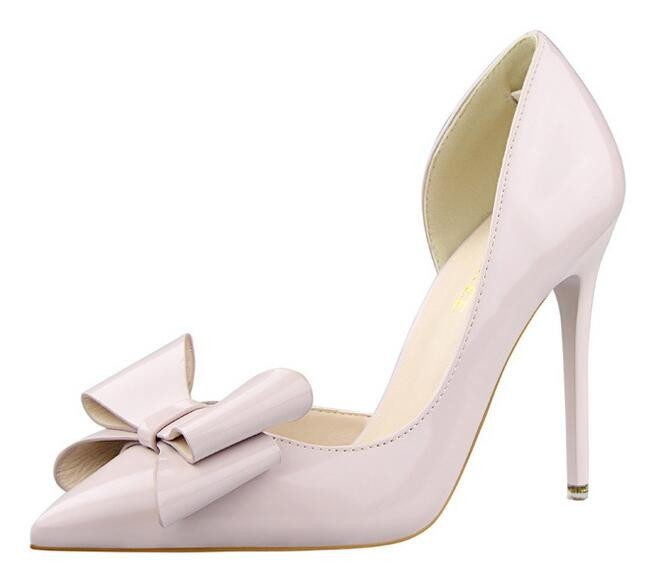 {D&H}Brand Women Shoes High Heels Women's Pumps Bow Two Piece Thin Heel Wedding Shoes Valentine Shoes White zapatos mujer 28