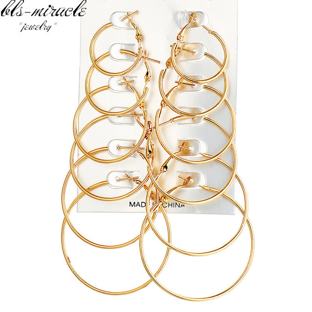 bls-miracle New Fashion jewelry Copper metal mix size Hoop Earrings best gift fo
