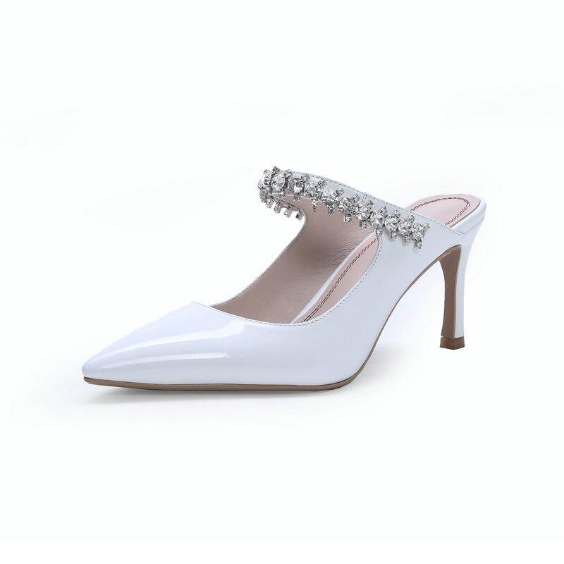 Delle donne di Estate Ciabatte Pantofole Alti Talloni Delle Signore di cristallo della Punta Aguzza di Stile di estate Al di Fuori Scarpe Per Le Ragazze-in Pantofole da Scarpe su  Gruppo 3