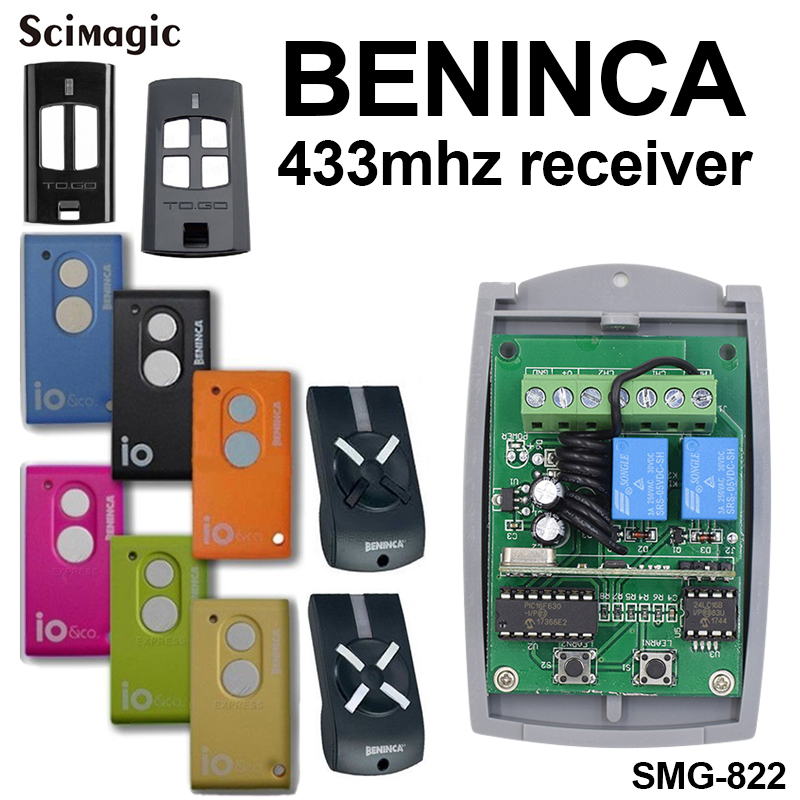 Universal 2-channel 433mhz remote receiver for BENINCA DEA BFT DOORHAN NOVA NICE SMILO SEAV remote control electric gate