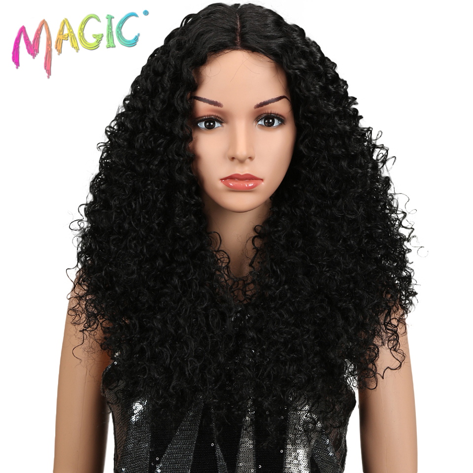 "Magic Hair 26""Inch Synthetic Lace Front Black Wig African American Long Kinky Curly Heat Resistant Fiber Wigs For Black Women"