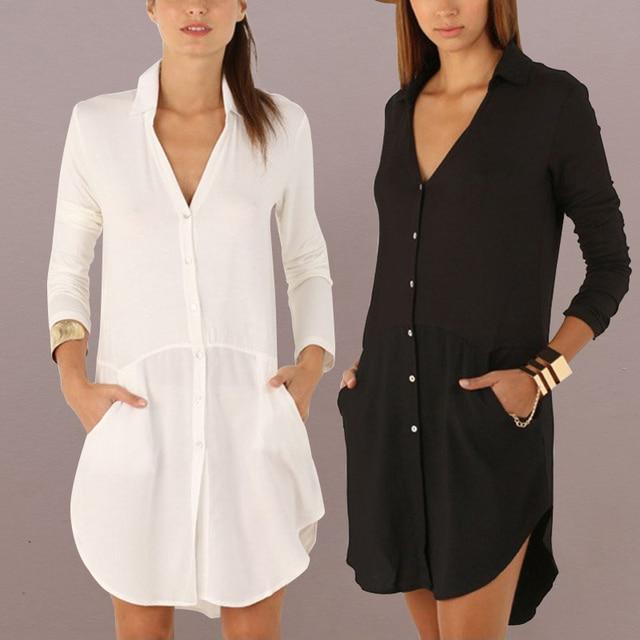 641425e0 Celmia Women White Shirt Dress 2019 Female Sexy V Neck Long Sleeve Mini  Dresses Casual Pockets
