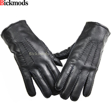 2017 Guantes Winter Gloves Leather Gloves Men All Handmade Deerskin Lining Stripes Style Soft Delicate Price Concessions Direct(China)