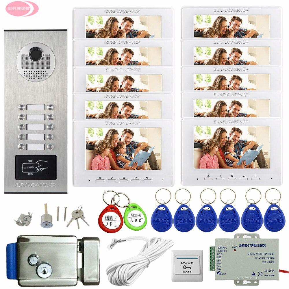 """10 Apartment 10 Buttons Video Door Entry Panel  7""""Color Video Intercom + Electronic Door Lock Wired Video Doorbell Intercom Kit"""