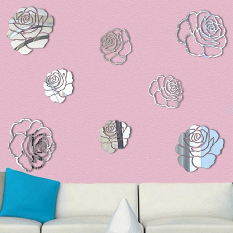 Luxury Flower Rose 3D Mirror Wall Stickers Art Acrylic Home Office ...