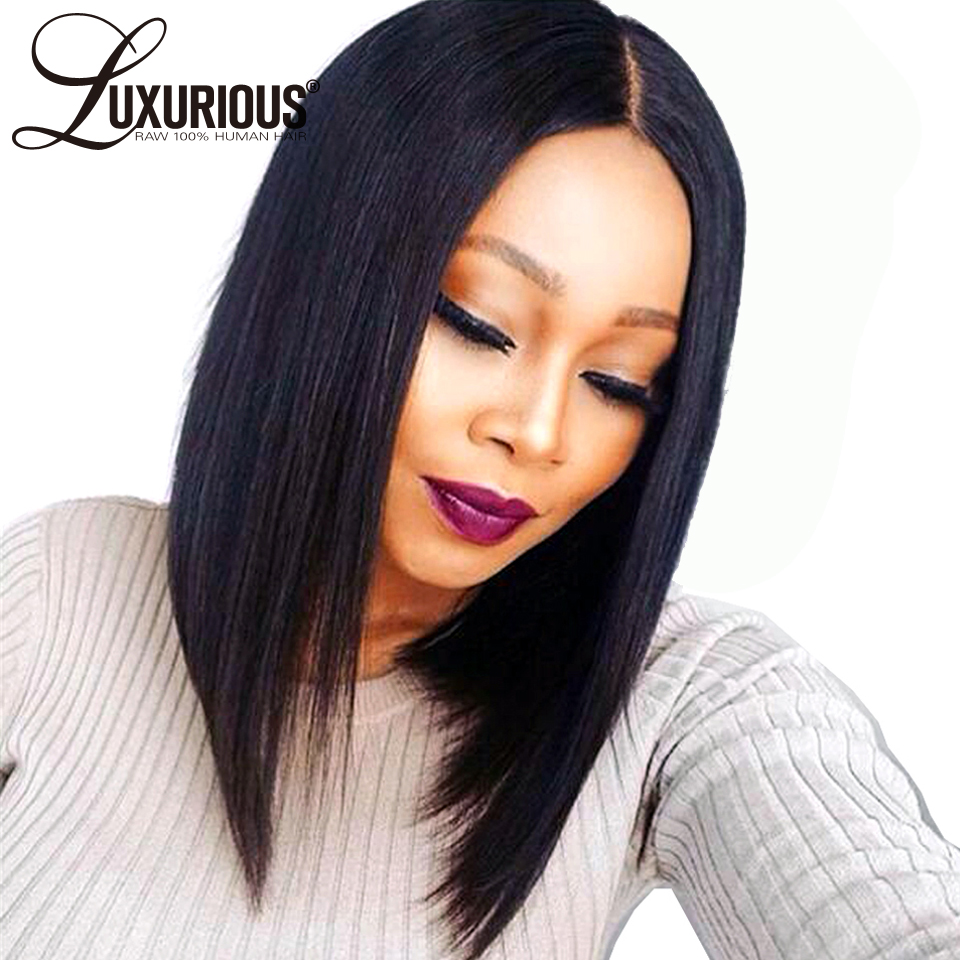 150% Straight Short BOB Full Lace Human Hair Wigs For Women 8-14Inch Natural Color Brazilian Remy Hair 5inch Parting Pre Plucked