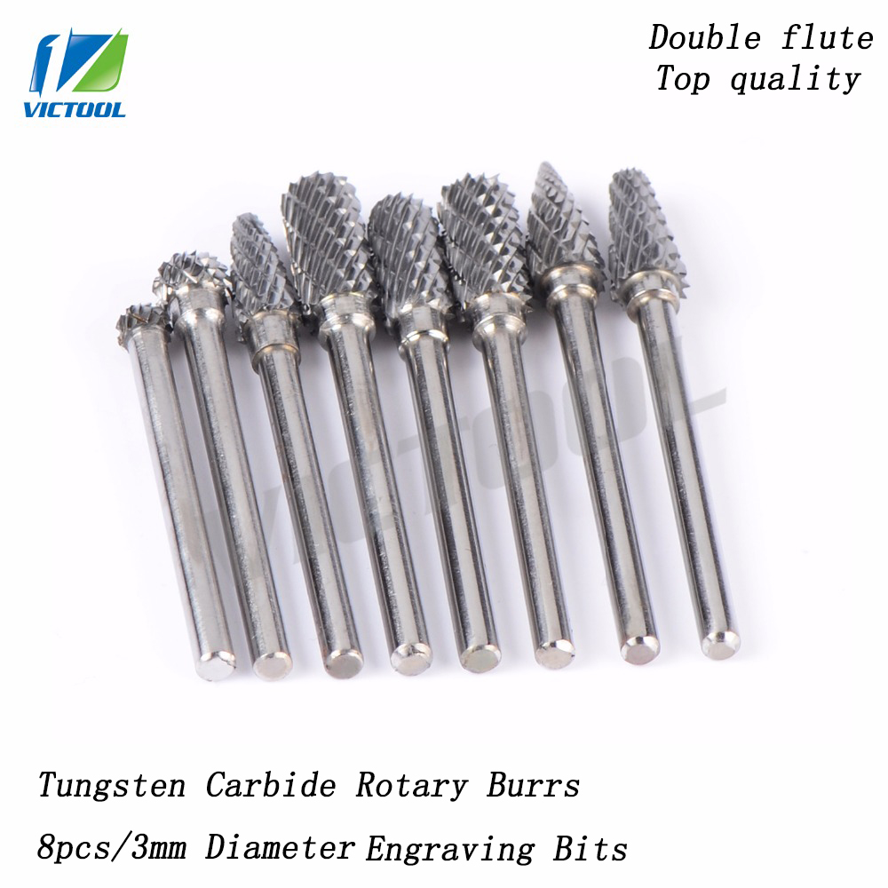 8pcsTungsten Carbide D3mm Drill Bits Rotary Burrs High Hardness Metal for Woodworking Milling Cutters For Dremel Drill bits hot sale20 x tungsten steel solid carbide burrs for rotary drill die grinder carving