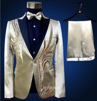 Mannen gold suits ontwerpen podium kostuums voor zangers mannen sequin blazer dans kleding jas ster stijl jurk punk zwarte kraag