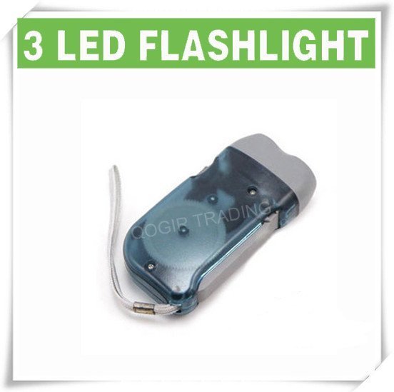 3 LED Dynamo Wind up Flashlight NR Torch Light Camping GRAY LY-6103