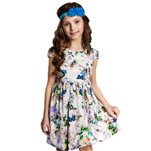 цена на DKDGNY 2-8Y Girls Dresses for Party and Wedding 2018 Brand Summer Dress Princess Costume Printing Kids Dress for Girls