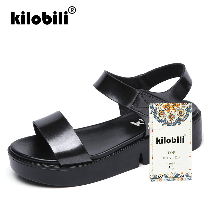 fb233ba8f3c Aliexpress.com   Buy kilobili Summer 2018 Leather Flats Sandals Women shoes  Silver Ankle Strap Bling Black Gold Platform Sandals Female Footwear from  ...
